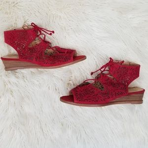 Vince Camuto Red Suede Cutout Sandals